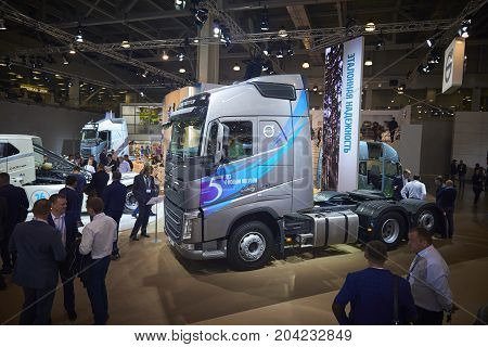 MOSCOW, SEP, 5, 2017: View on gray bolster-type truck Volvo FH 460 exhibit on Commercial Transport Exhibition ComTrans-2017. Volvo trucks. Automobile industry last achivements. Commercial trucks