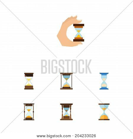 Flat Icon Sandglass Set Of Sandglass, Sand Timer, Waiting Vector Objects