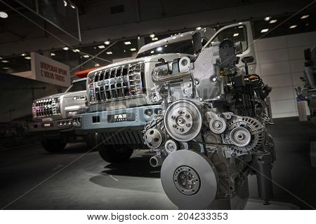 MOSCOW, SEP, 5, 2017: View on YAMZ engine motor for off-road URAL mud truck for hard to reach areas. Off road cargo trucks for civil transportation. Commercial Transport Exhibition ComTrans-2017
