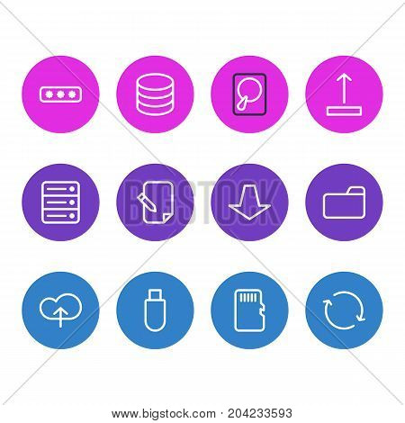 Editable Pack Of Parole, Agreement, Memory And Other Elements.  Vector Illustration Of 12 Storage Icons.