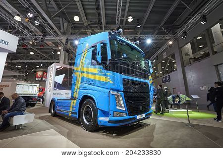 MOSCOW, SEP, 5, 2017: View on blue bolster-type truck Volvo FH 540 exhibit on Commercial Transport Exhibition ComTrans-2017. Commercial Volvo trucks. Automobile industry last achivements. Super cars