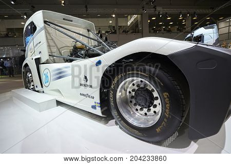 MOSCOW, SEP, 5, 2017: View on Volvo drag race high speed racing truck exhibit on Commercial Transport Exhibition ComTrans-2017 Automobile industry last achivements