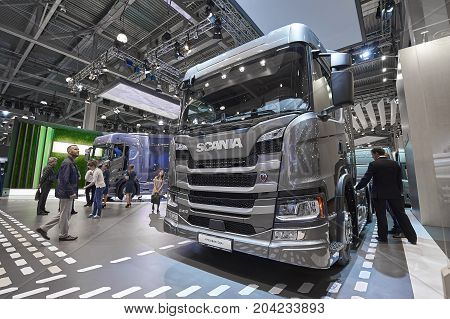 MOSCOW, SEP, 5, 2017: View on gray truck Scania exhibit on Commercial Transport Exhibition ComTrans-2017. Scania trucks. Automobile industry. Popular and newest Commercial trucks. Truck cabin close up