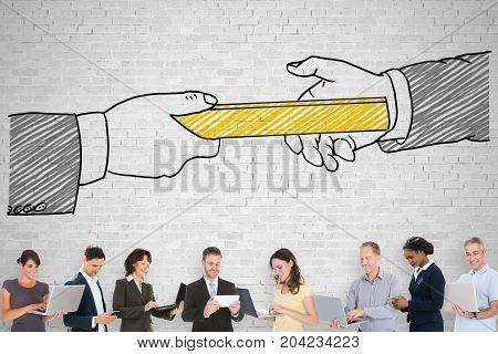 Group Of People Standing On Front Of Passing Relay Baton Concept Image