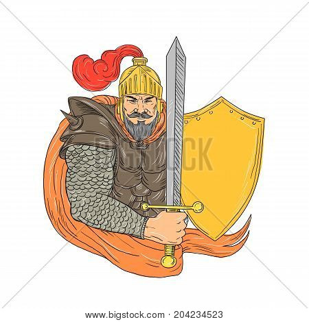 Drawing sketch style illustration of an Old medieval Knight wielding a Sword and Shield viewed from front on isolated background.