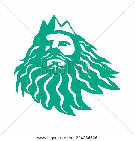 Retro style illustration of head of Triton Greek god the messenger of the sea son of Poseidon and Amphitrite Looking Up on isolated background.