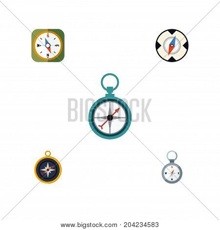 Flat Icon Compass Set Of Instrument, Measurement Dividers, Magnet Navigator And Other Vector Objects