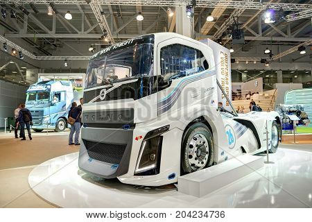 MOSCOW, SEP, 5, 2017: View on Volvo drag race high speed racing truck exhibit on Commercial Transport Exhibition ComTrans-2017 Automobile industry last achivements. Trucks buses cars custom vehicles