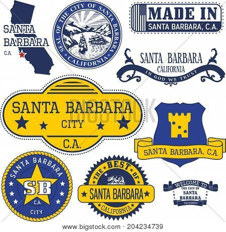 Generic Stamps And Signs Of Santa Barbara City, Ca