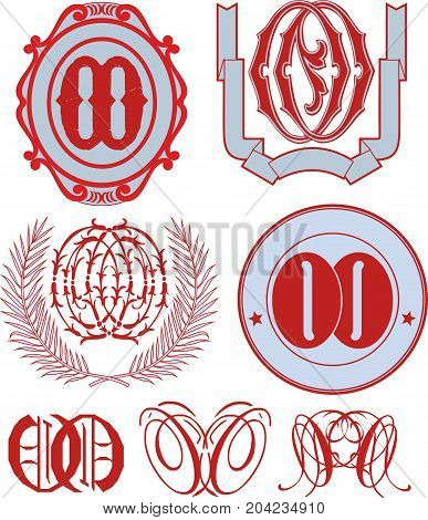 Set Of Oo Monograms And Emblem Templates