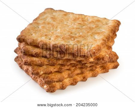 Stack Of Tasty, Crunchy French Crackers Isolated On A White Background, Close Up.