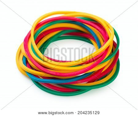 Pile of colorful rubber bands isolated on a white background