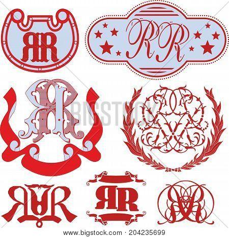 Set Of Rr Monograms And Emblem Templates
