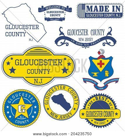 Gloucester County, Nj. Set Of Generic Stamps And Signs