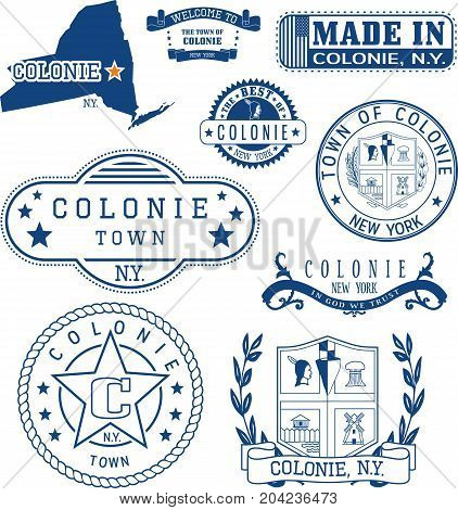 Set Of Generic Stamps And Signs Of Colonie, Ny