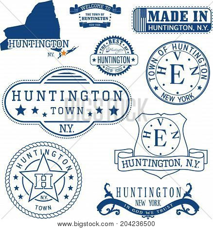 Set Of Generic Stamps And Signs Of Huntington, Ny
