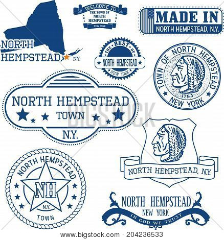 Set Of Generic Stamps And Signs Of North Hempstead, Ny