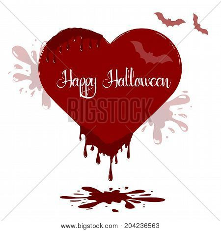 Vector heart illustration with dripping blood. Template of Happy Halloween card.