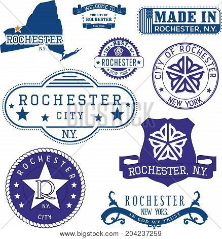 Set Of Generic Stamps And Signs Of Rochester, Ny