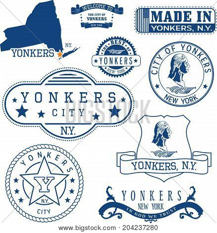 Set Of Generic Stamps And Signs Of Yonkers, Ny