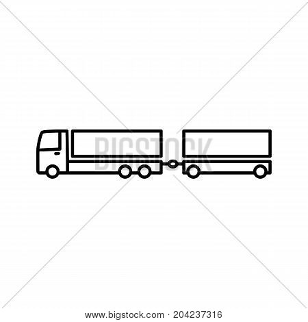thin line truck with trailer icon on white background