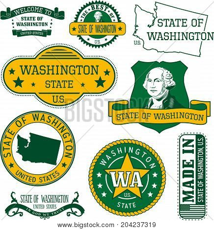 Set Of Generic Stamps And Signs Of Washington State