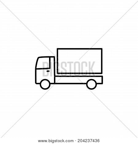 thin line small truck icon on white background