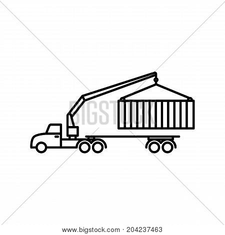 thin line crane truck icon on white background
