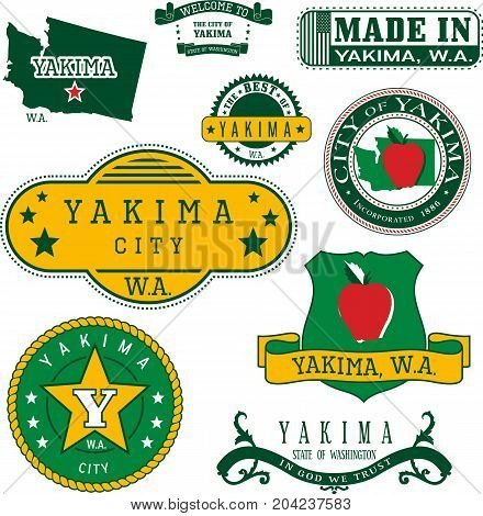Set Of Generic Stamps And Signs Of Yakima, Wa