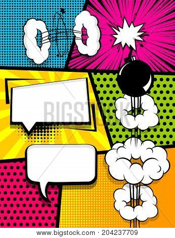 Vertical pop art comics book magazine cover template. Cartoon funny vintage strip comic superhero text, speech bubble, balloon, box message, burst bomb. Vector halftone illustration. Blank graphic.