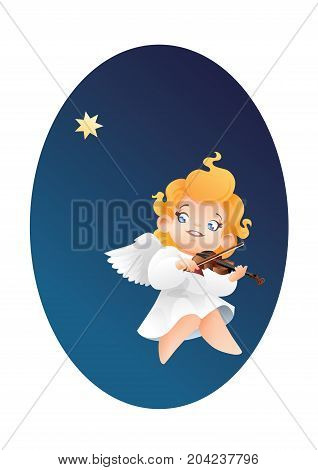 Christmas background design with violinist angel musician. Happy smiling flying on a night sky cute cartoon angel kid play music  on violin tostar. Good siut for card, music collection box cover