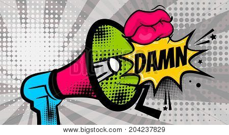 DAMN pop art megaphone pink woman sexy lips, wow star. Comics book balloon. Bubble speech phrase. Cartoon girl lipstick font label tag expression. Comic text sound effects. Vector illustration.