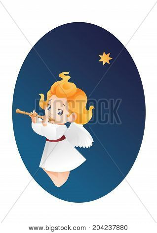 Christmas background design with flutis angel musician. Happy smiling flying cute cartoon kid play music on flute to star flying on a night sky. Good siut for card, music collection box cover
