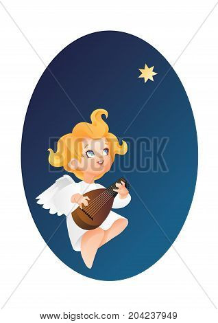 Christmas background design with luteist angel musician. Happy smiling cute cartoon kid flying on a night sky play music on lute to star. Good siut for card, music collection box cover.