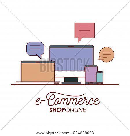 e-commerce shop online set tech elements on white background vector illustration