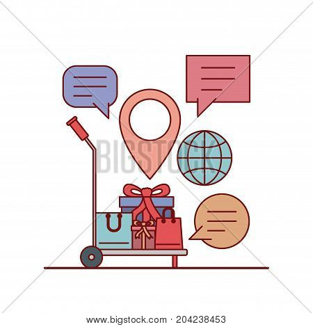 gift and shopping bags in freight carrier e-commerce shop online on white background vector illustration