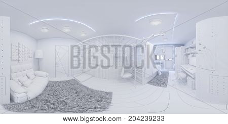 3d illustration spherical 360 degrees, seamless panorama of children's room interior design. Design a child's room for a boy in white color