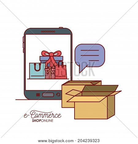 smartphone with wallpaper inside of set gift and bag shopping with packages and textbox e-commerce shop online on white background vector illustration