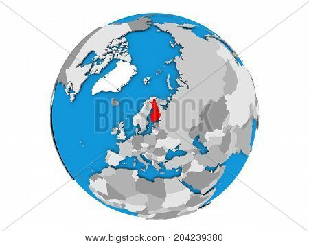 Finland On Globe Isolated