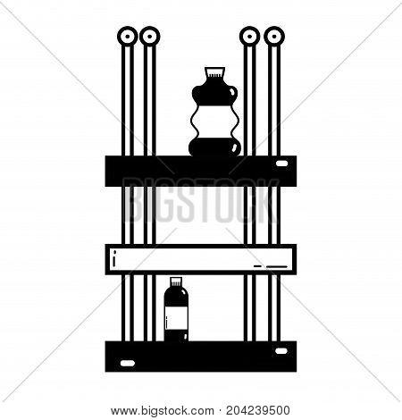 contour shelf with bleach and detergent liquid bottle vector illustration
