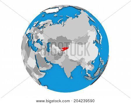 Kyrgyzstan On Globe Isolated
