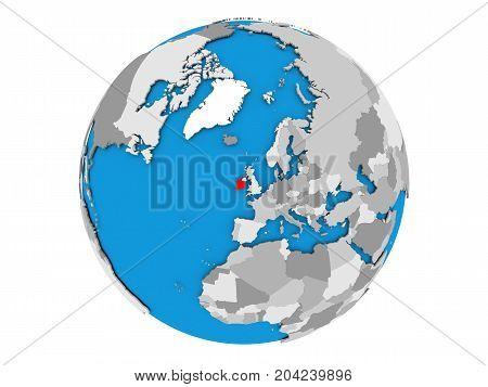Ireland On Globe Isolated