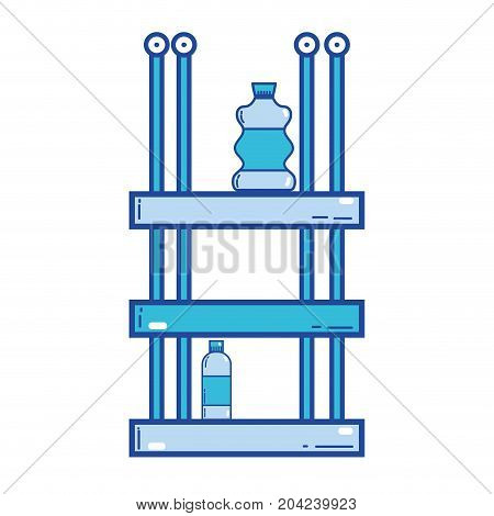 shelf with bleach and detergent liquid bottle vector illustration