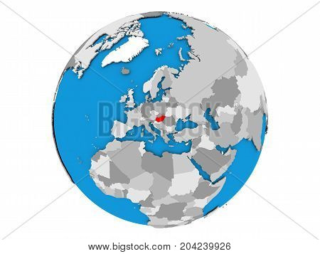 Hungary On Globe Isolated