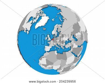 Netherlands On Globe Isolated