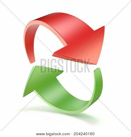 Red and green arrows circle 3D render illustration isolated on white background