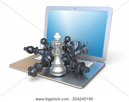 Chess Pieces On Open Laptop Side View 3D
