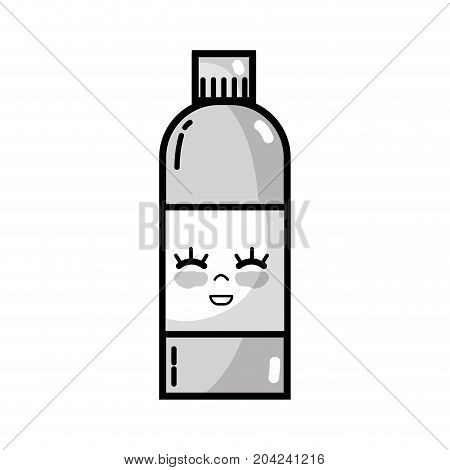 grayscale kawaii cute funny beverage bottle vector illustration