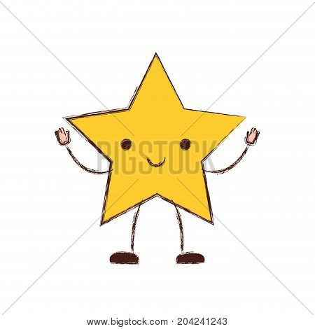 star kawaii caricature in blurred color silhouette vector illustration
