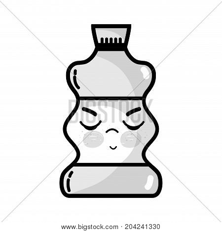 grayscale kawaii cute angry beverage bottle vector illustration